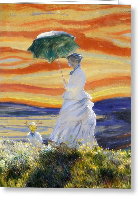 Edvard Greeting Cards - Ms Monet and Red Skies Greeting Card by Gravityx9  Designs