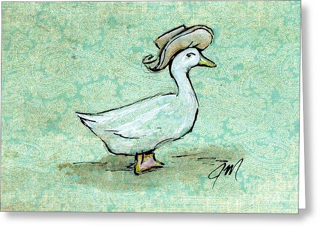 Duck Greeting Cards - Ms. Puddle-duck Greeting Card by Jessica Matthews