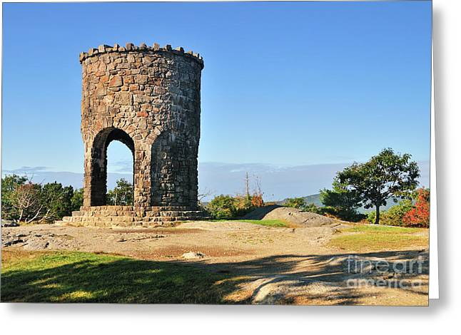 Stone Steps Greeting Cards - Mt Battie Tower Greeting Card by Betty LaRue