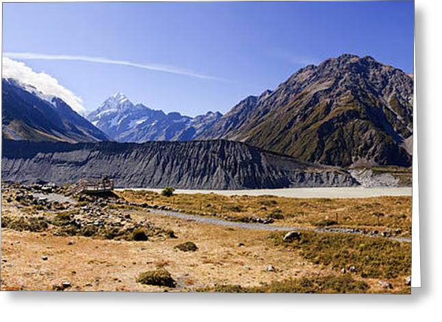 Snow Capped Greeting Cards - Mt Cook New Zealand and Meuller Lake Greeting Card by Bill  Robinson