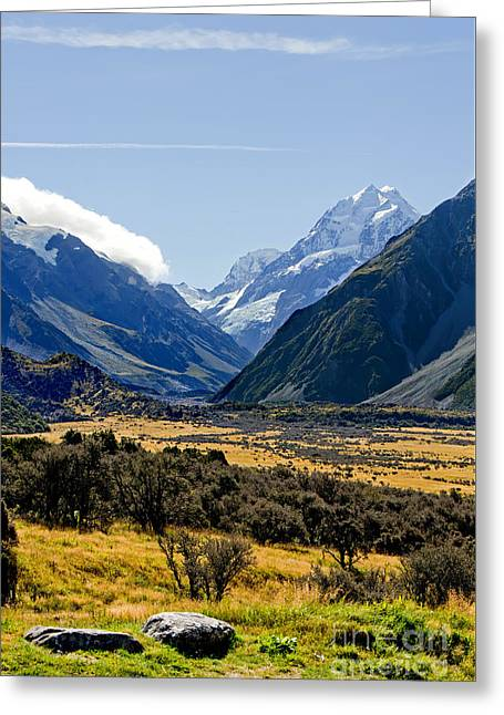 Snow Capped Mountains Greeting Cards - Mt Cook New Zealand Greeting Card by Bill  Robinson
