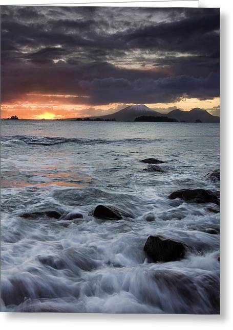 Sunset Seascape Greeting Cards - Mt. Edgecumbe Sunset Greeting Card by Mike  Dawson