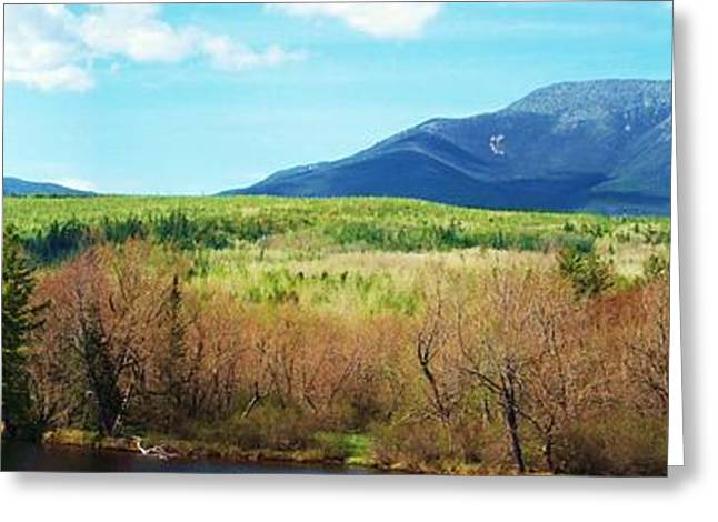 Maine Spring Greeting Cards - Mt Katahdin from Abol Bridge Greeting Card by Tim  Canwell