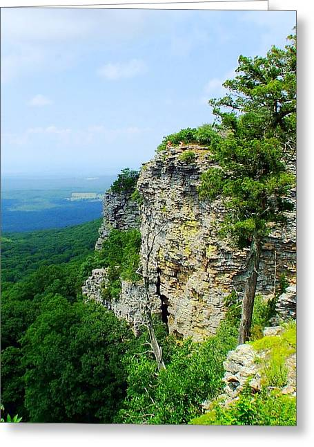 Mt Magazine Greeting Cards - Mt Magazine Cliff Greeting Card by Tammy Chesney