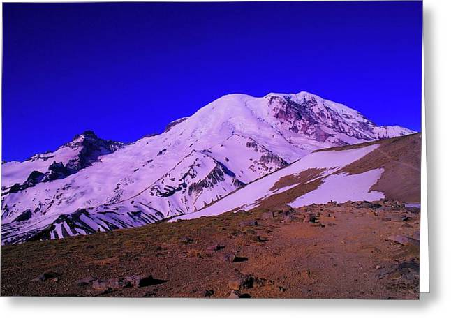 Sour Greeting Cards - Mt Rainer And Bourroughs Mt In The Foreground  Greeting Card by Jeff  Swan
