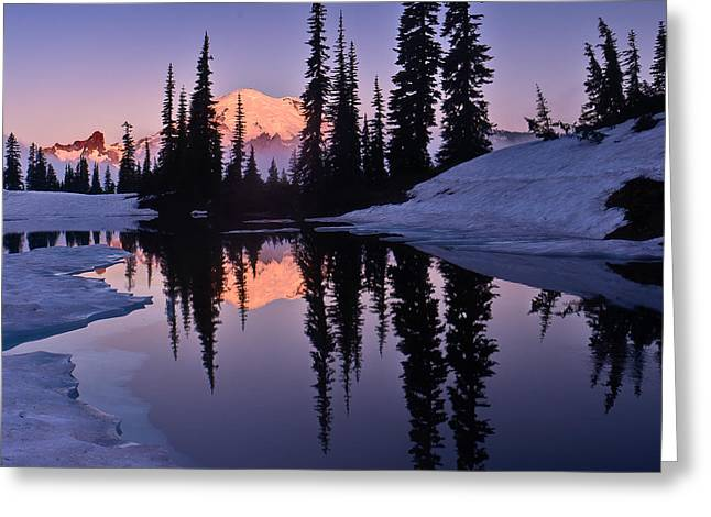 Mt Photographs Greeting Cards - Mt Rainier from Lake Tipsoo Greeting Card by Alvin Kroon