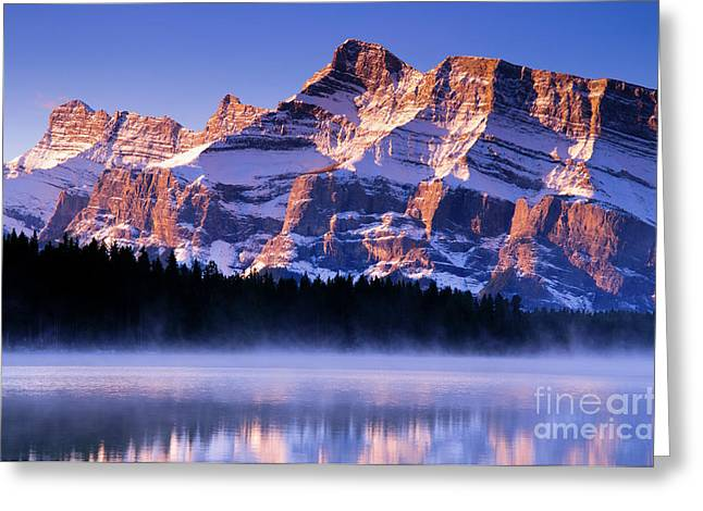 Rundle Greeting Cards - Mt Rundle Greeting Card by Ginevre Smith