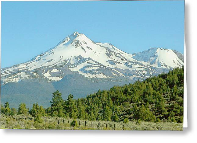 White Digital Art Greeting Cards - Mt. Shasta Fine Watercolor Greeting Card by Linda Phelps