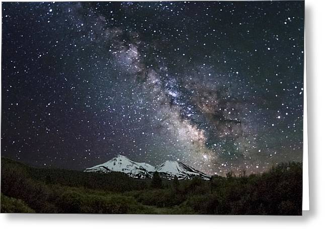 Mt. Shasta Greeting Cards - Mt Shasta Milky Way Greeting Card by Keith Marsh