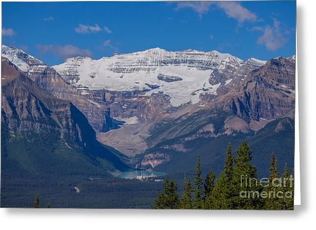 Boats At Dock Greeting Cards - Mt. Victoria and Lake Louise Greeting Card by John Roberts