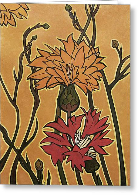 Carrie Jackson Greeting Cards - Mucha Ado About Flowers Greeting Card by Carrie Jackson