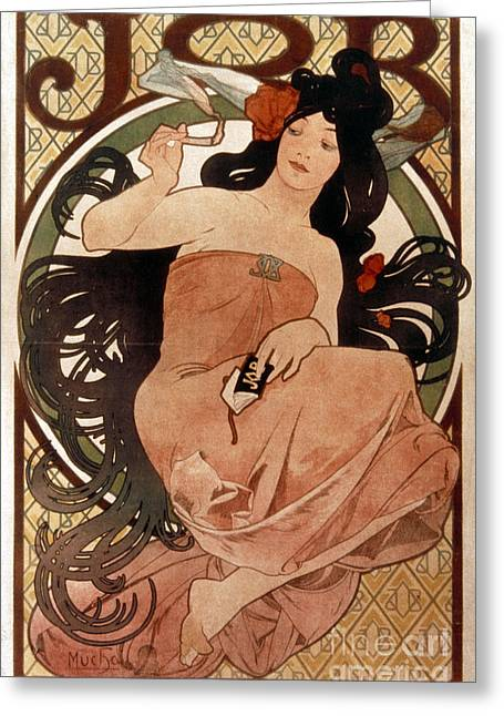 Posters Of Women Photographs Greeting Cards - Mucha: Cigarette Paper Ad Greeting Card by Granger