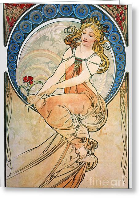 Posters Of Women Photographs Greeting Cards - Mucha: Poster, 1898 Greeting Card by Granger