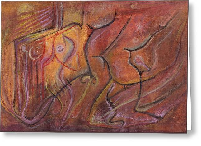 Caves Pastels Greeting Cards - Dances of Fertility Greeting Card by Tom Kecskemeti
