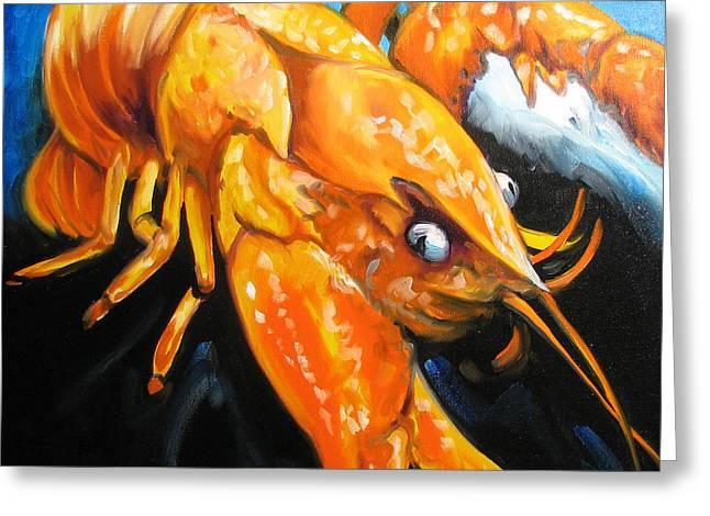 Crawfish Greeting Cards - Mudbug Madness Greeting Card by Marcia Baldwin
