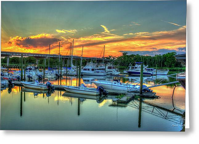 Sunset At Mudcat Charlies Two Way Fish Camp Altamaha River Darien Georgia Greeting Card by Reid Callaway