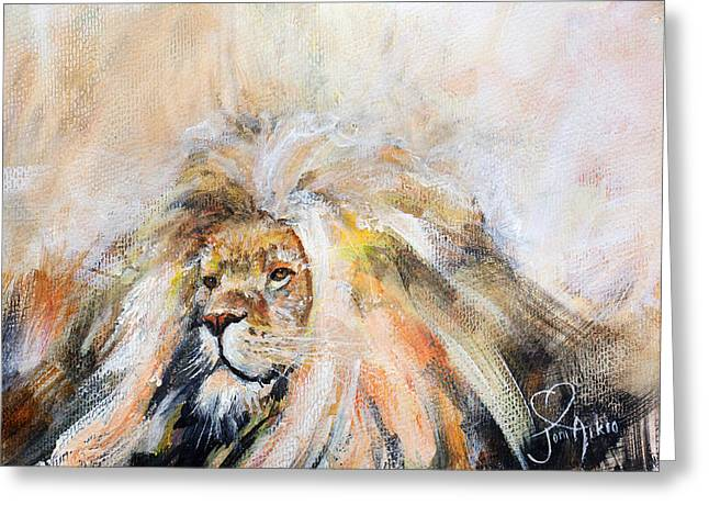 Lions Greeting Cards - Mufasa - Lion King abstract Greeting Card by Joni Aikio