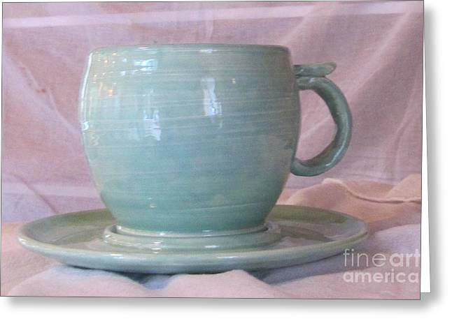 Coffee Cup Ceramics Greeting Cards - Mug and saucer Greeting Card by Lisa Dunn