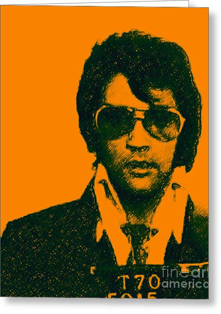 Las Vegas Artist Greeting Cards - Mugshot Elvis Presley Greeting Card by Wingsdomain Art and Photography