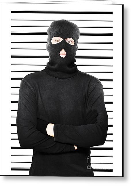 Mugshot Of A Busted Thief Greeting Card by Jorgo Photography - Wall Art Gallery