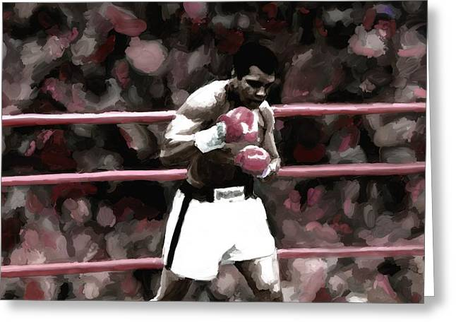 Leon Jimenez Greeting Cards - Muhammad Ali Painting Art Signed Prints available at laartwork.com Coupon Code KODAK Greeting Card by Leon Jimenez
