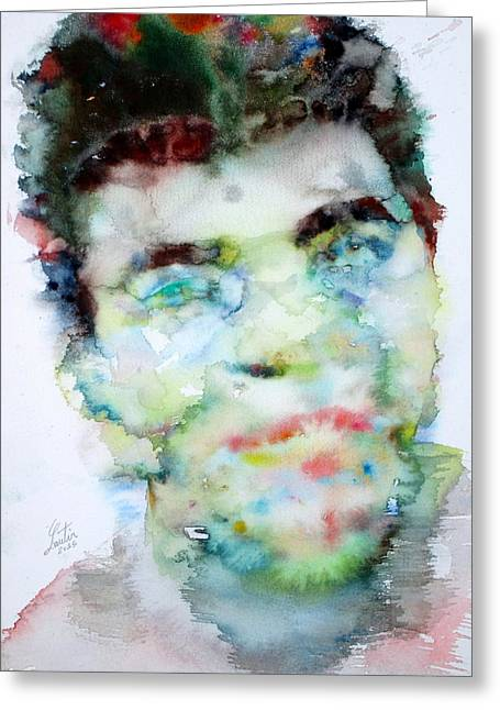 Muhammad Ali - Watercolor Portrait.2 Greeting Card by Fabrizio Cassetta