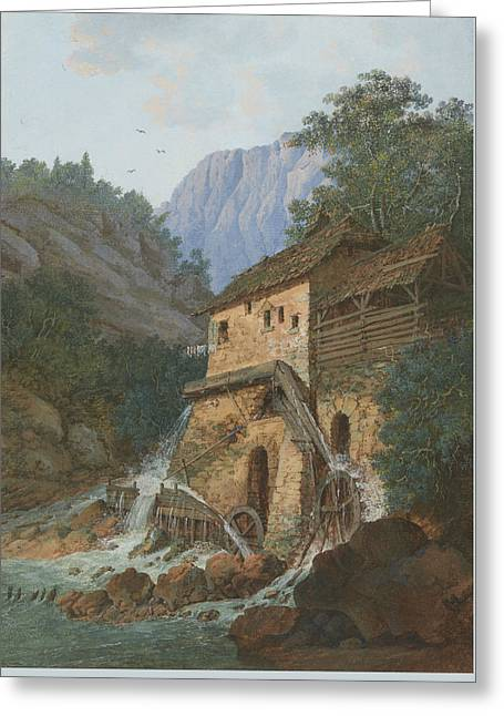 Swiss Paintings Greeting Cards - Muhle Montreux Greeting Card by Louis Albert Guislain Bacler d