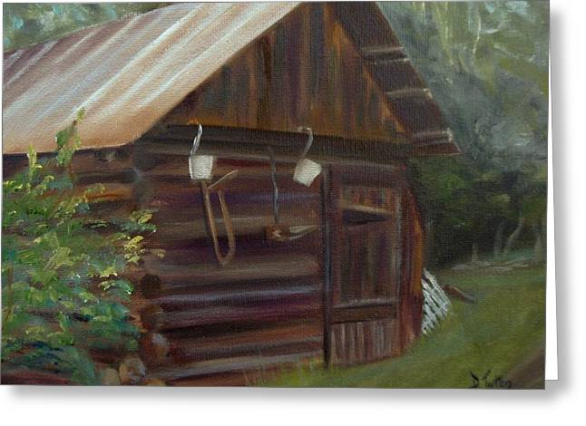 Shed Paintings Greeting Cards - Mulberry Farms Grainery Greeting Card by Donna Tuten