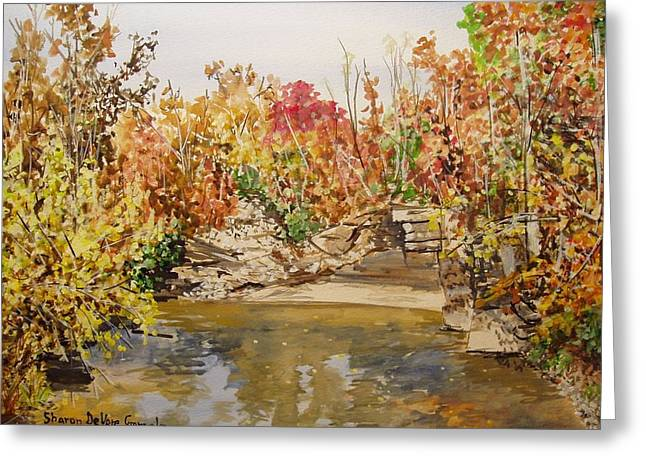 Arkansas Paintings Greeting Cards - Mulberry River in Fall Greeting Card by Sharon  De Vore