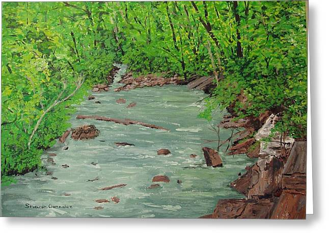 Arkansas Paintings Greeting Cards - Mulberry River Greeting Card by Sharon  De Vore