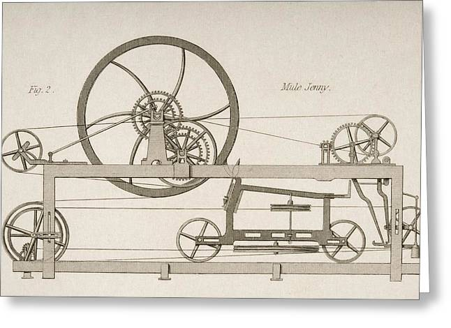 Machinery Drawings Greeting Cards - Mule-jenny Drawn By J.w. Lowry In 1830s Greeting Card by Ken Welsh