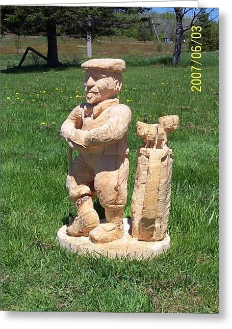 Chainsaw Carving Sculptures Greeting Cards - Mulligans Greeting Card by Deverne Rushton