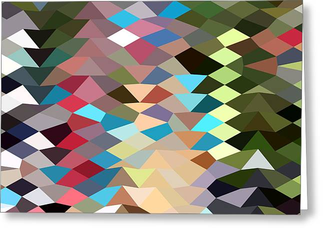 Polygon Greeting Cards - Multi Color Abstract Low Polygon Background Greeting Card by Aloysius Patrimonio