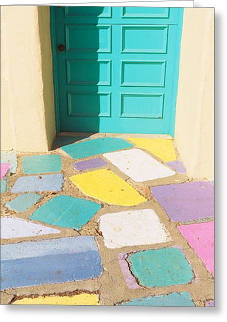 Multi-colored Tiles In Front Of A Door Greeting Card by Panoramic Images