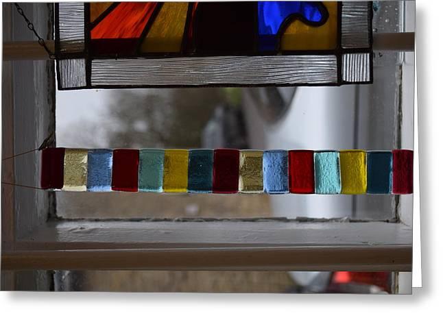 Aqua Glass Greeting Cards - Multi-coloured suncatcher Greeting Card by Rosalind Duffy