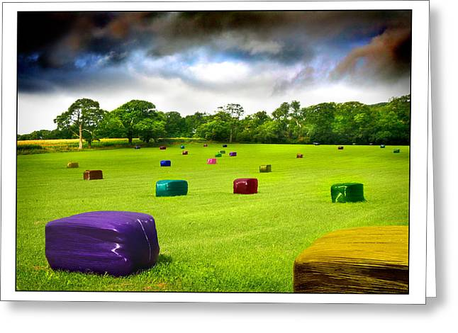 Bale Greeting Cards - Multicolored Bales Fantasy Greeting Card by Mal Bray