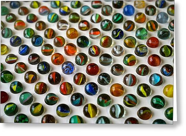 Marble Eye Greeting Cards - Multicolored Marbles Greeting Card by Shirley Stevenson Wallis