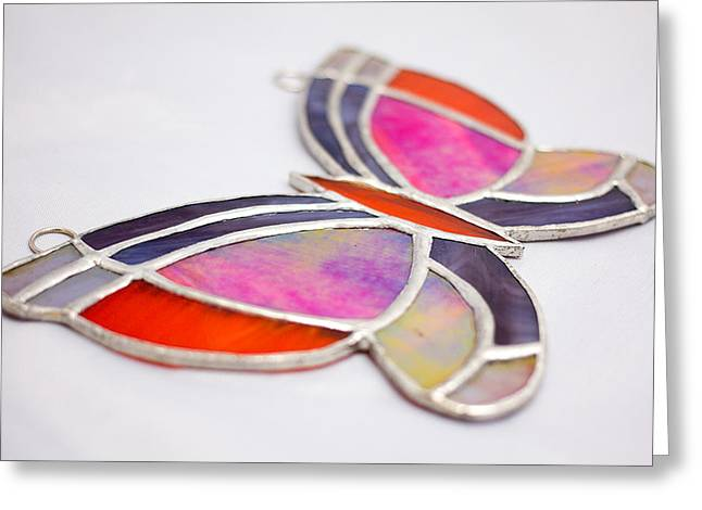 Iridescent Glass Art Greeting Cards - Multicolored Stained Glass Butterfly Sun Catcher Iridescent Glass image 2  Greeting Card by Wendy Wehe-Ballone