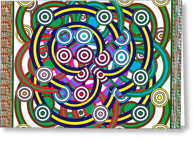 Multiple Hula Hoop Circles Colorful Abstract Art Greeting Card by Navin Joshi