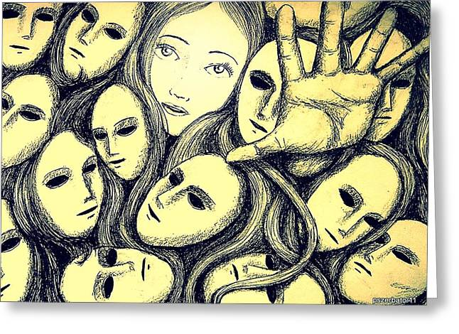 Multiple Personalities Greeting Card by Paulo Zerbato