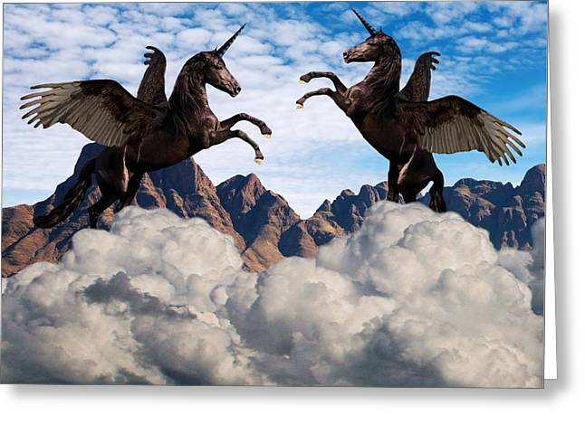 Black Winged Unicorn Greeting Cards - Multiple Personality Greeting Card by Solomon Barroa