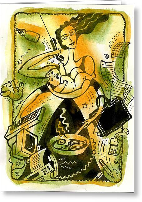 Business Woman Greeting Cards - Home Office Multitasking Greeting Card by Leon Zernitsky