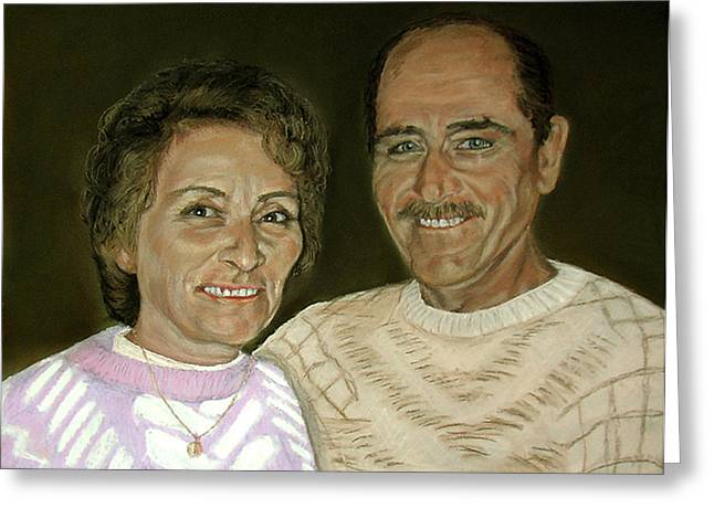 People Pastels Greeting Cards - Mum and Dad Greeting Card by Elisabeth Dubois