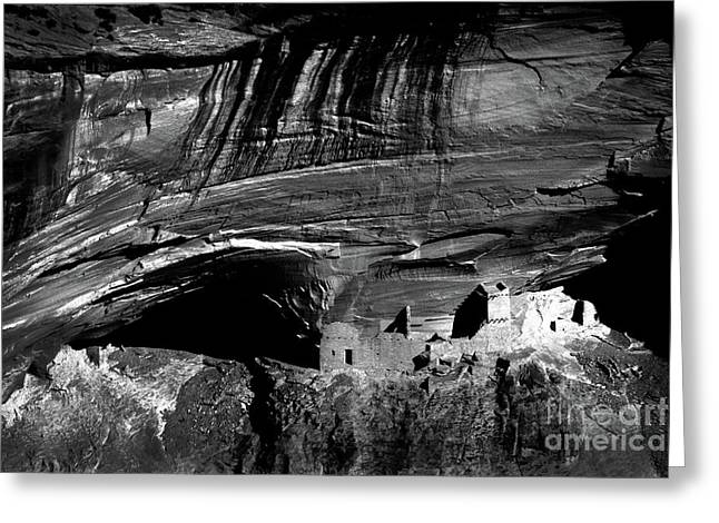 Native American Dwellings Greeting Cards - Mummy Cave - BW Greeting Card by Paul W Faust -  Impressions of Light
