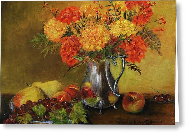 Old Pitcher Paintings Greeting Cards - Mums and Fruit Greeting Card by Aurelia Nieves-Callwood