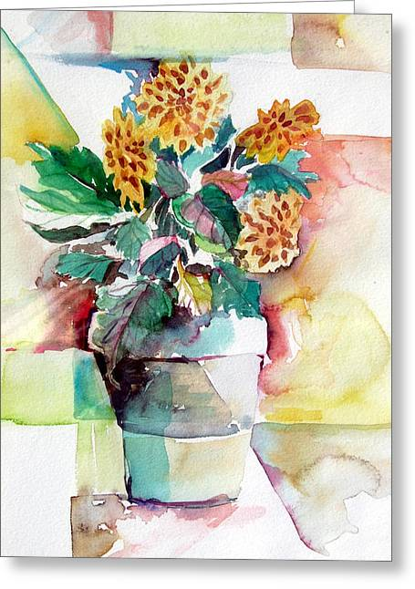 Summer Landscape Drawings Greeting Cards - Mums the Word Greeting Card by Mindy Newman