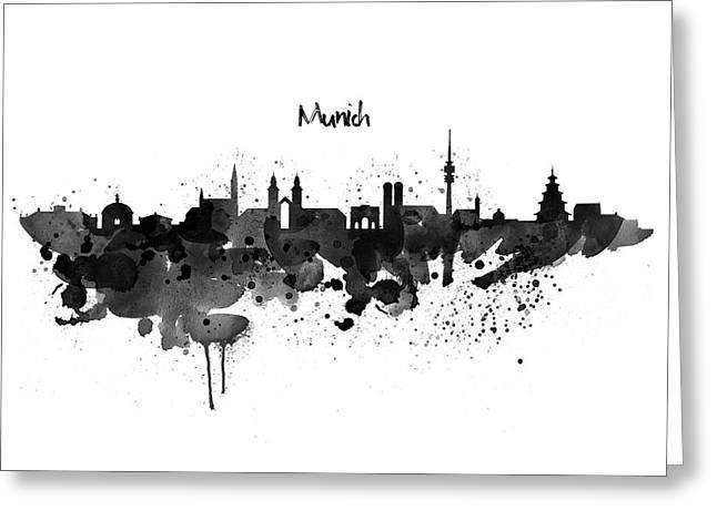 Munich Black And White Skyline Silhouette Greeting Card by Marian Voicu