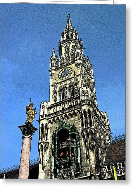Marienplatz Greeting Cards - Munich City Hall Greeting Card by Paul Pobiak