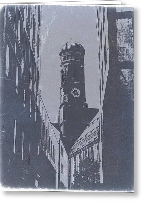 Old Buildings Greeting Cards - Munich Frauenkirche Greeting Card by Naxart Studio
