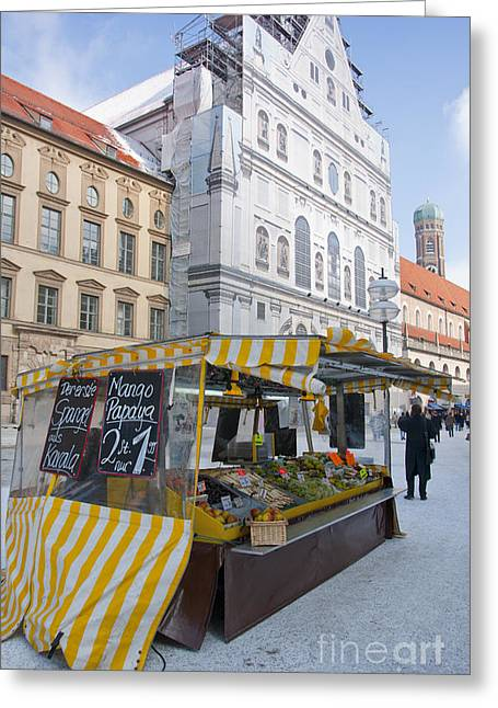 Munich Fruit Seller Greeting Card by Andrew  Michael